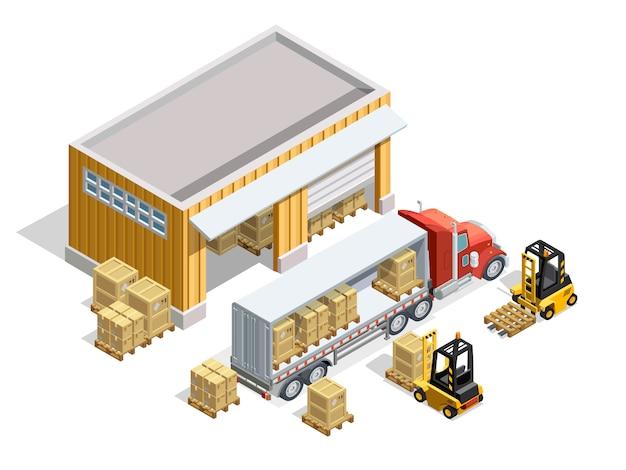 Modèle isométrique d'entrepôt