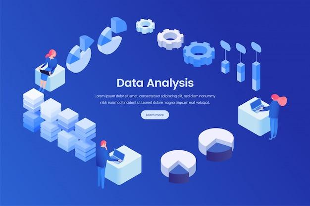 Modèle isométrique de page de destination d'analyse des données