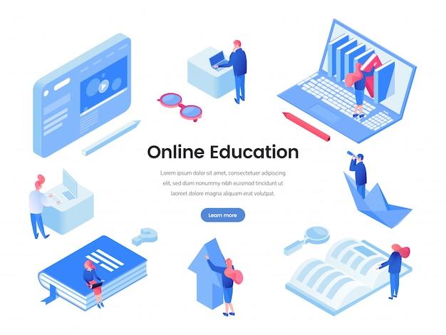 Modèle isométrique de la page de destination de l'éducation en ligne