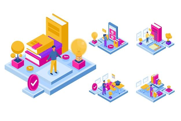 Modèle isométrique avec des personnes apprenant en ligne, des connaissances de réseautage dans la salle de classe en ligne en personnage de dessin animé, plat illustre