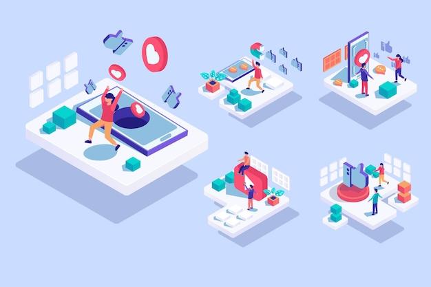 Modèle isométrique avec des personnes satisfaites des médias sosial sur mobile en personnage de dessin animé, illustration plate