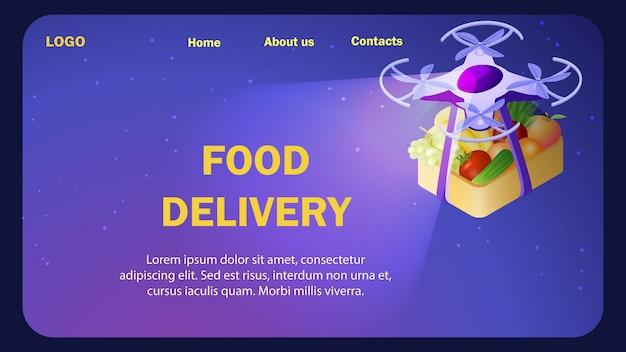 Modèle isométrique de site web de livraison de nourriture fraîche