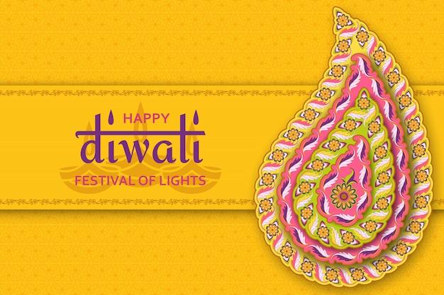 Modèle jaune heureux diwali avec paisley floral et mandala. festival des lumières