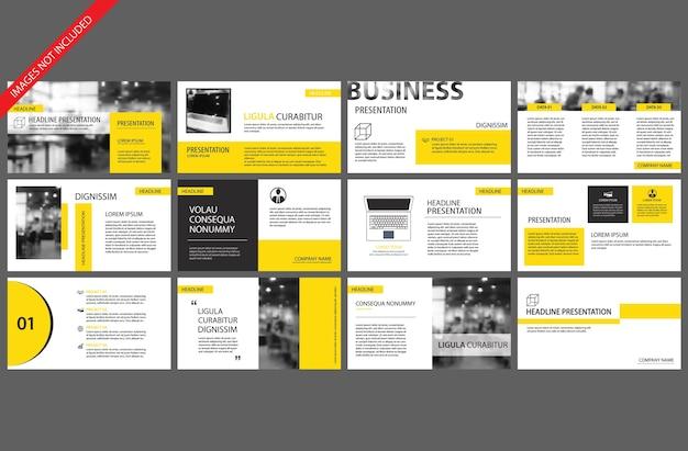 Modèle jaune pour la présentation de diapositives powerpoint