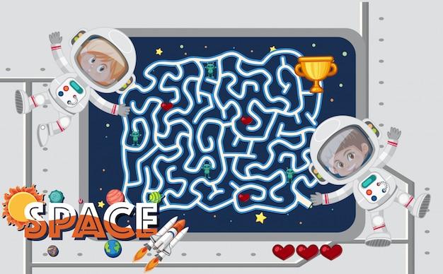 Modèle de jeu avec des astronautes en salle de contrôle