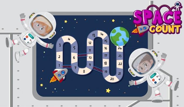 Modèle de jeu avec des astronautes volant dans l'espace
