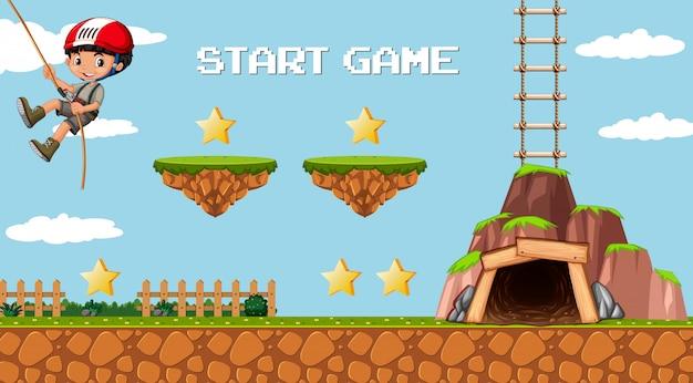 Modèle de jeu d'aventure minière avec un personnage de garçon