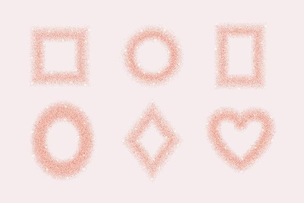 Modèle de jeu de cadres de paillettes d'or rose pour cartes de voeux