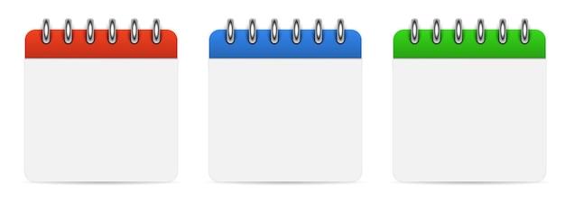 Modèle de jeu de calendriers vides vierges sur fond blanc