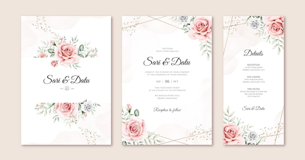 Modèle de jeu de carte d'invitation de mariage élégant avec de belles fleurs et feuilles aquarelle