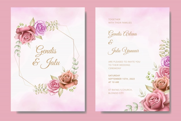 Modèle de jeu de carte d'invitation de mariage élégant avec de belles fleurs