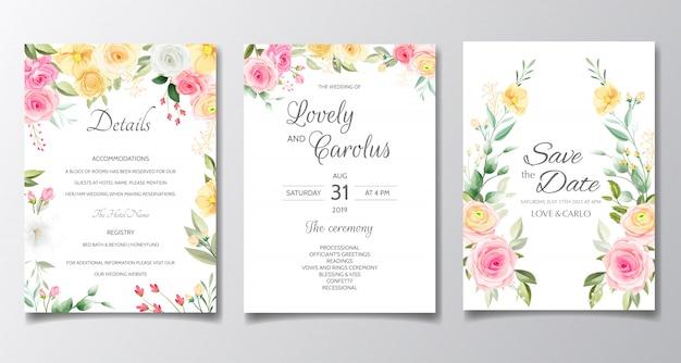 Modèle de jeu de carte d'invitation de mariage élégant avec des fleurs colorées et des feuilles de verdure