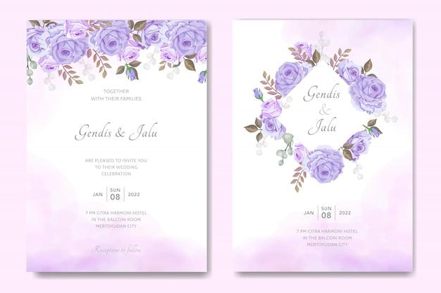 Modèle de jeu de carte d'invitation de mariage simple avec floral