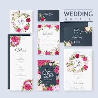 Modèle de jeu de carte de mariage avec beau fond floral et feuilles