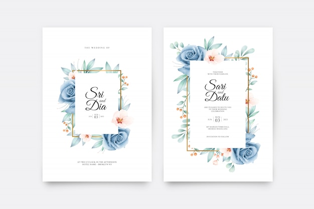 Modèle de jeu de carte de mariage avec belle aquarelle bleu rose