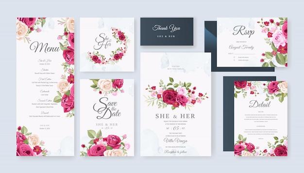 Modèle de jeu de carte de mariage avec belle floral et feuilles