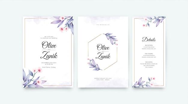 Modèle de jeu de carte de mariage avec décoration aquarelle fleurs et feuilles