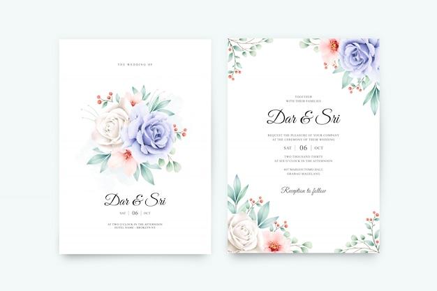 Modèle de jeu de carte de mariage élégant avec une belle aquarelle florale