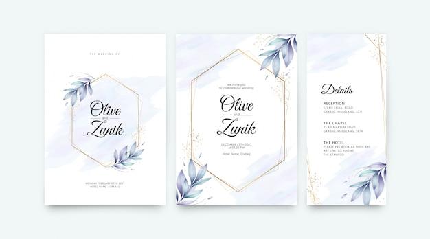 Modèle de jeu de carte de mariage avec fleurs géométriques dorées et feuilles aquarelle