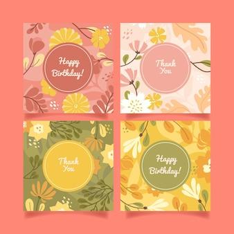 Modèle de jeu de cartes florales plates