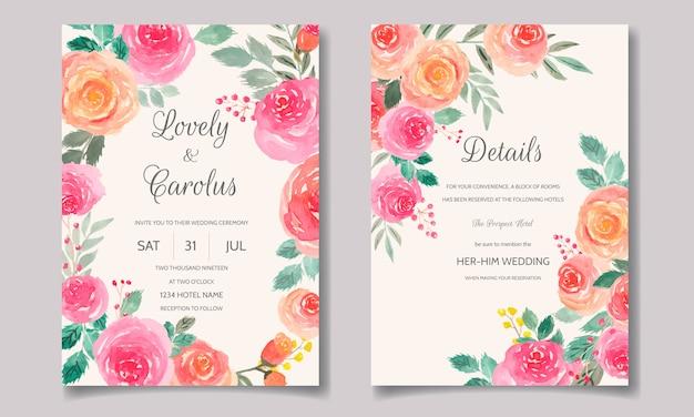 Modèle de jeu de cartes d'invitation de mariage avec aquarelle florale et feuilles
