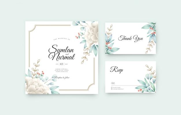 Modèle de jeu de cartes d'invitation de mariage avec aquarelle florale
