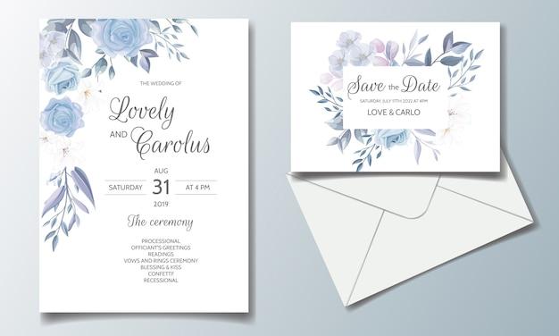Modèle de jeu de cartes d'invitation de mariage avec beau cadre floral