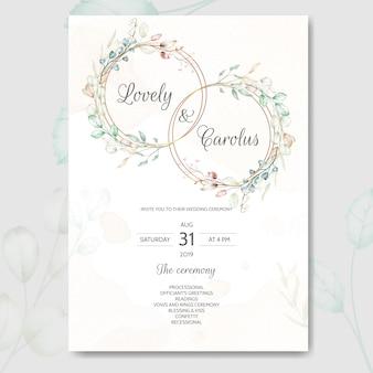 Modèle de jeu de cartes d'invitation de mariage avec de belles aquarelles florales et feuilles