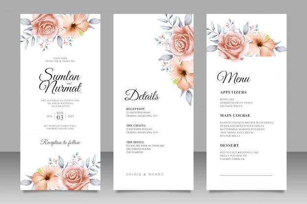 Modèle de jeu de cartes d'invitation de mariage de belles fleurs et feuilles
