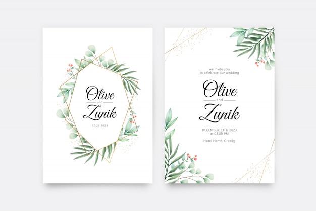 Modèle de jeu de cartes d'invitation de mariage avec décoration aquarelle de feuilles