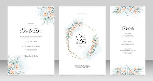 Modèle de jeu de cartes d'invitation de mariage avec fleurs et feuilles aquarelle