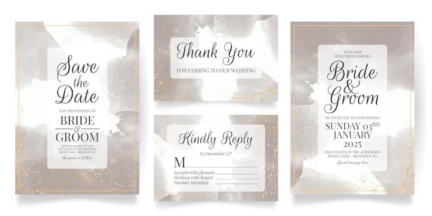 Modèle de jeu de cartes d'invitation de mariage avec fond aquarelle