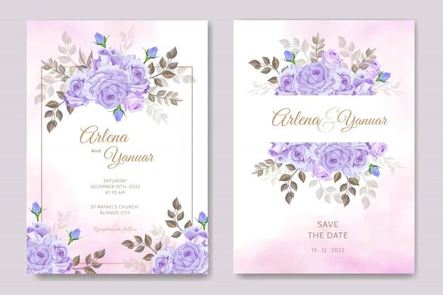 Modèle de jeu de cartes d'invitation de mariage magnifique avec cadre floral