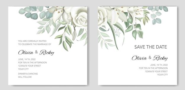 Modèle de jeu de cartes d'invitation de mariage de verdure avec des lys dessinés à la main