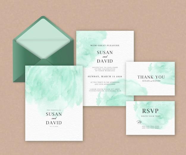 Modèle de jeu de cartes de mariage avec une belle aquarelle splash verte