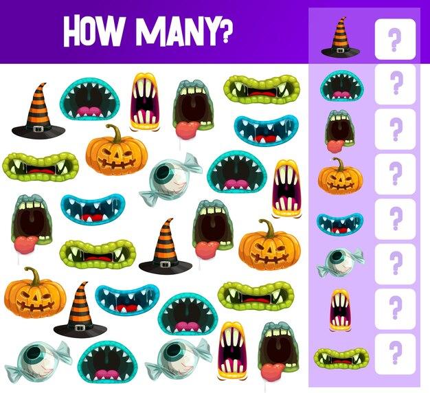 Modèle de jeu de comptage halloween de puzzle éducatif pour enfants ou feuille de calcul de livre de mathématiques