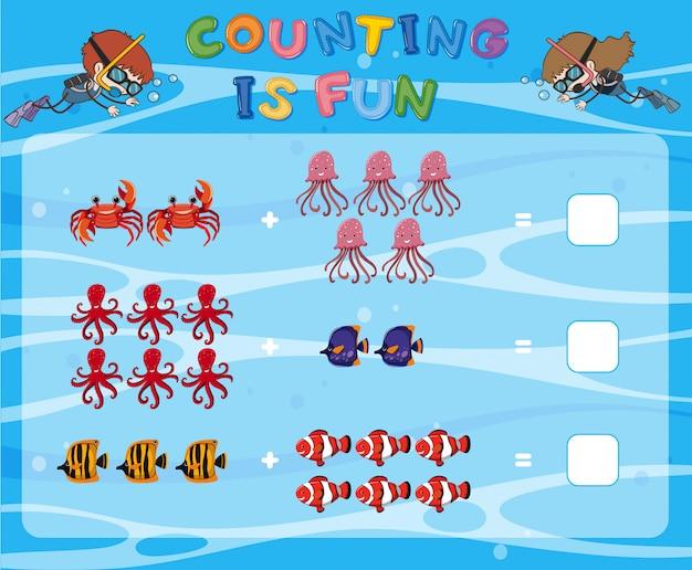 Modèle de jeu de comptage sous l'eau