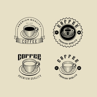 Modèle de jeu de conception de logo vintage café