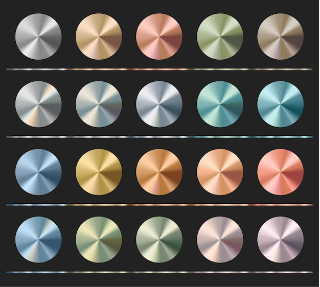 Modèle de jeu de dégradés, texture métallique, brillant radial.