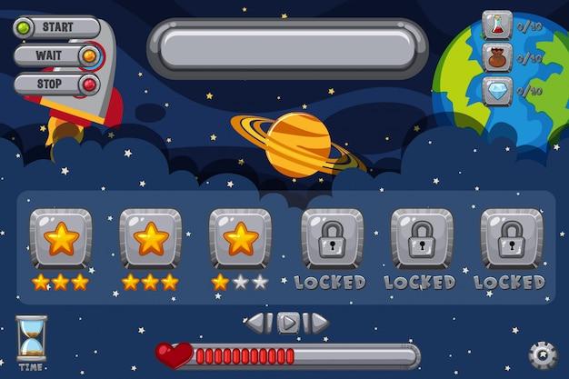 Modèle de jeu avec des étoiles dans le ciel
