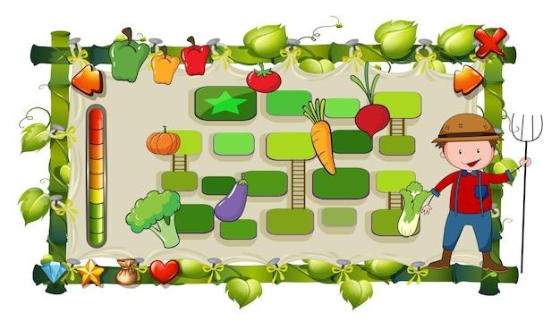 Modèle de jeu avec fermier et légumes