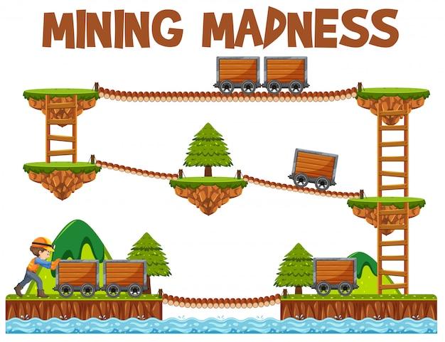 Modèle de jeu de folie minière d'aventure