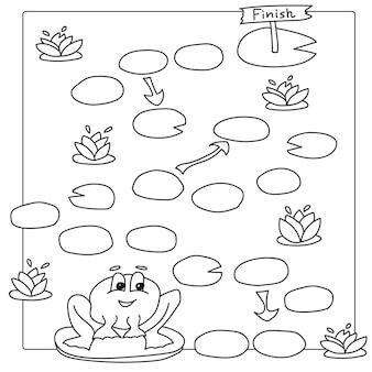Modèle de jeu avec des grenouilles dans l'illustration de fond de champ. pages de livre de coloriage de vecteur pour les enfants