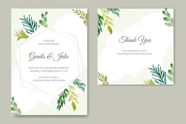 Modèle de jeu d'invitation de mariage avec aquarelle de feuilles