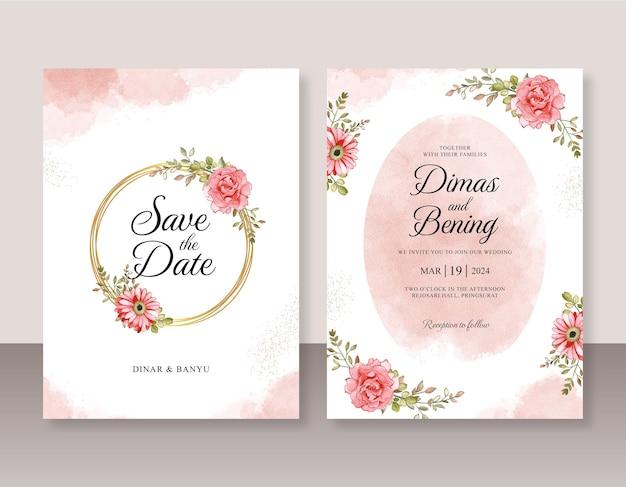 Modèle de jeu d'invitation de mariage avec aquarelle florale