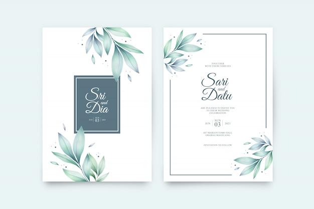 Modèle de jeu d'invitation de mariage avec de belles feuilles aquarelle