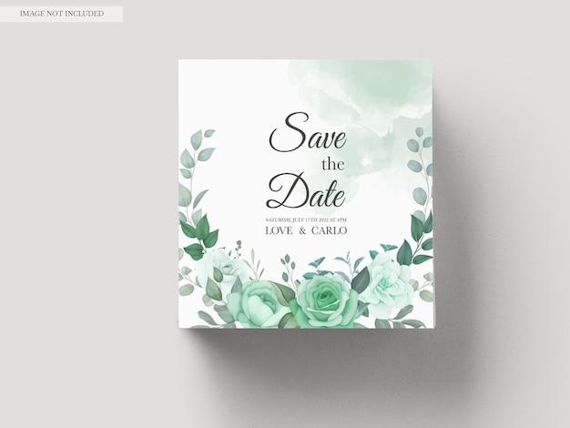 Modèle de jeu d'invitation de mariage avec verdure floral