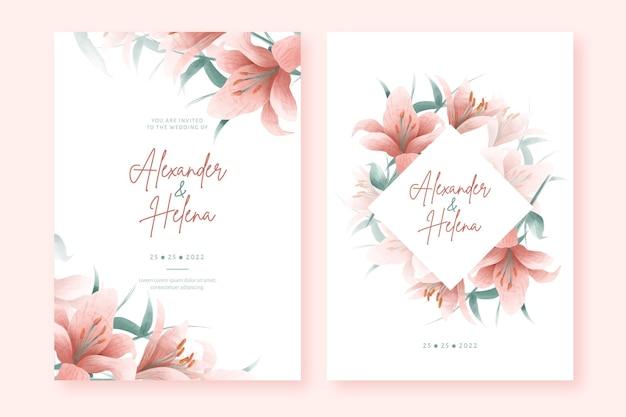 Modèle de jeu d'invitations de mariage aquarelle élégante