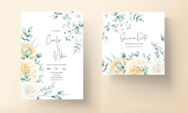 Modèle de jeu d'invitations de mariage floral aquarelle élégant