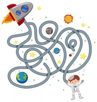 Modèle de jeu de labyrinthe de l'astronaute
